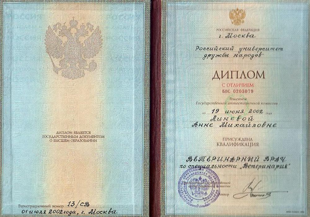 Диплом ветеринарного врача в РУДН, Москва, 2002 г.