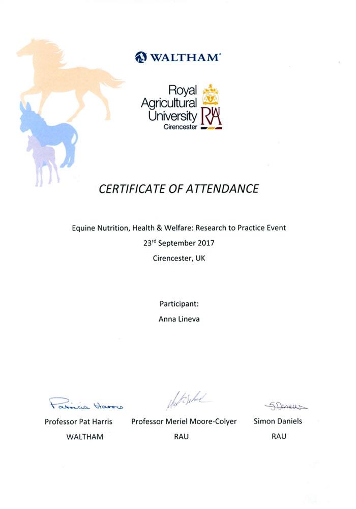 Конференция по кормлению лошадей, Сиренсестер, Великобритания, 2017 г.