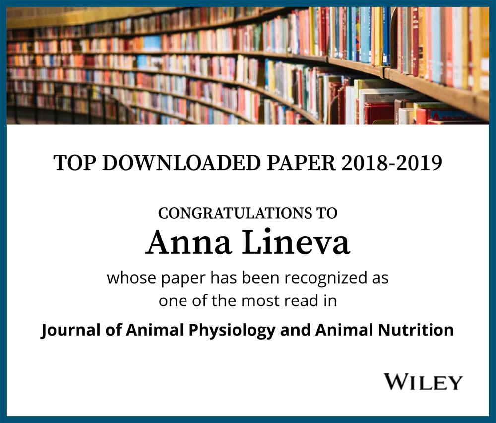 Автор статьи, вошедшей в топ 10 журнала Wiley Journal of Animal Nutrition and Animal Physiology в 2019 году