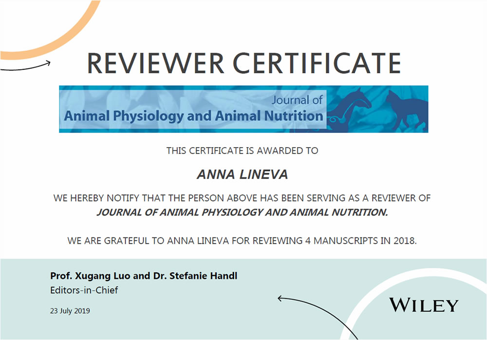 Рецензент журнала Wiley Journal of Animal Nutrition and Animal Physiology, 2019 г.